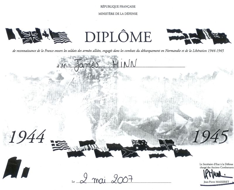 James Minn - WWII French DIplome