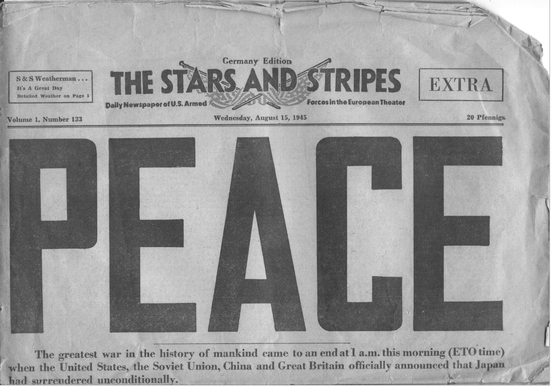 Stars and Stripes PEACE, August 1945